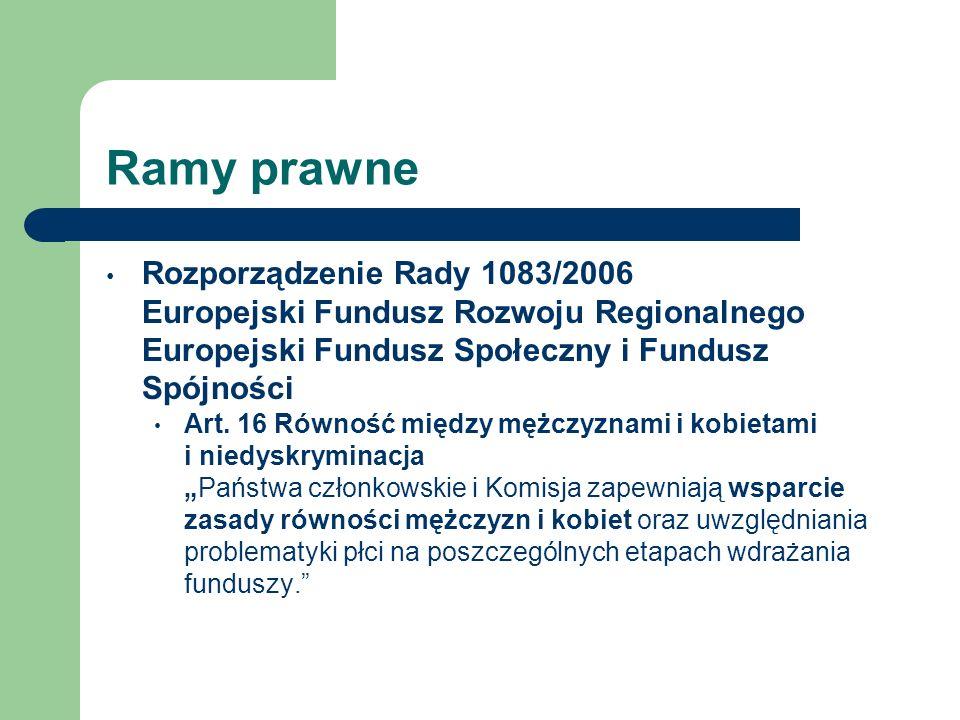 Ramy prawne Rozporządzenie Rady 1083/2006 Europejski Fundusz Rozwoju Regionalnego Europejski Fundusz Społeczny i Fundusz Spójności Art. 16 Równość mię