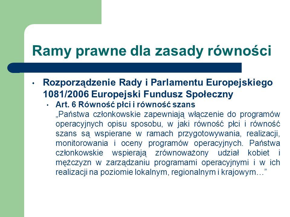 Ramy prawne dla zasady równości Rozporządzenie Rady i Parlamentu Europejskiego 1081/2006 Europejski Fundusz Społeczny Art. 6 Równość płci i równość sz