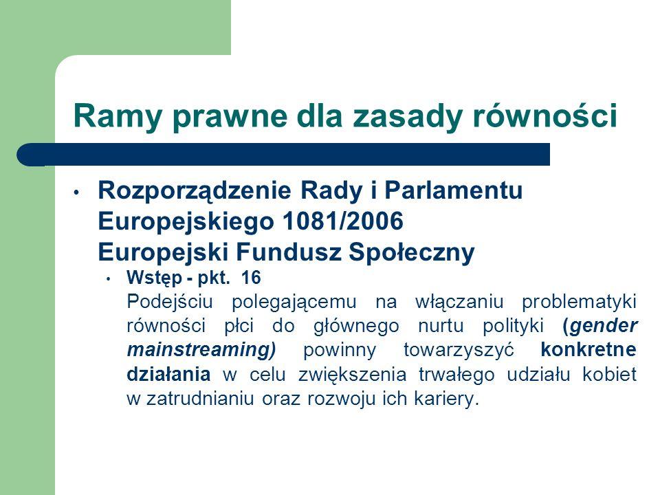 Ramy prawne dla zasady równości Rozporządzenie Rady i Parlamentu Europejskiego 1081/2006 Europejski Fundusz Społeczny Wstęp - pkt. 16 Podejściu polega