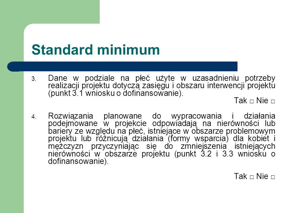 Standard minimum 3. Dane w podziale na płeć użyte w uzasadnieniu potrzeby realizacji projektu dotyczą zasięgu i obszaru interwencji projektu (punkt 3.