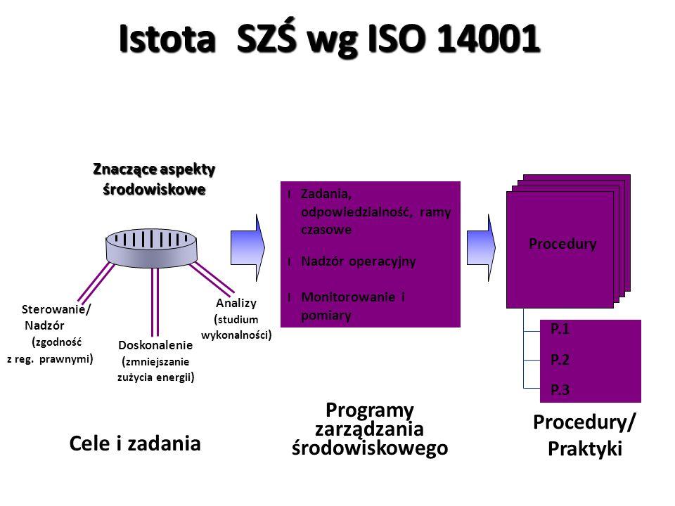 Elementy SZŚ wg ISO 14001 4.2 Polityka środowiskowa 4.3 Planowanie Aspekty środowiskowe Wymagania prawne i inne Cele, zadania i programy 4.4 Wdrażanie