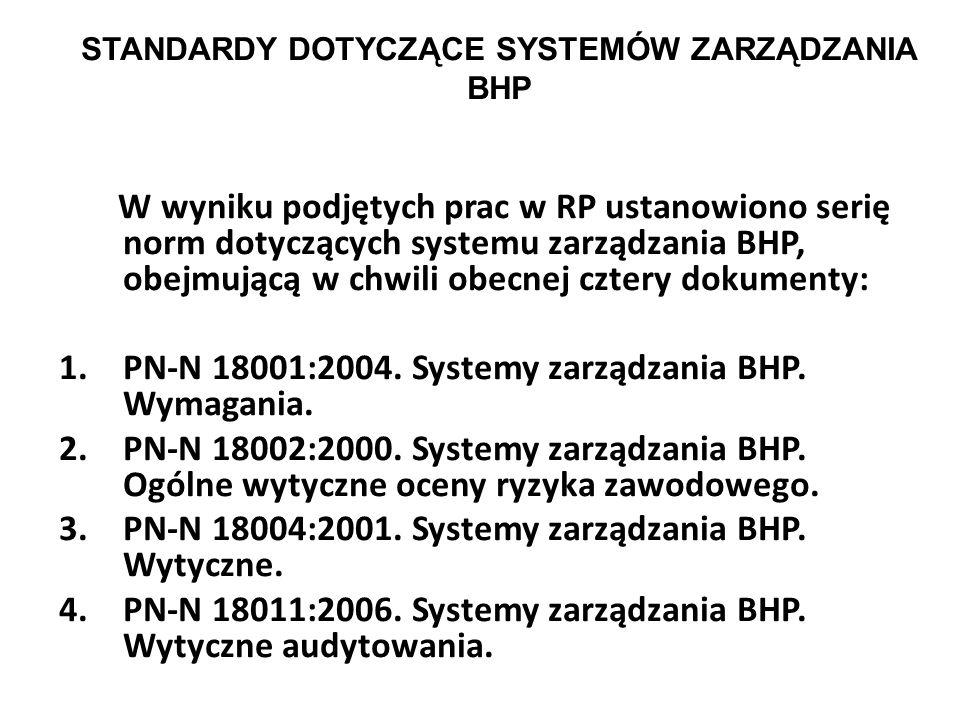STANDARDY DOTYCZĄCE SYSTEMÓW ZARZĄDZANIA BHP 1. OHSAS 18001:2007, Occupational health and safety management systems – Requirements, opracowany przez B