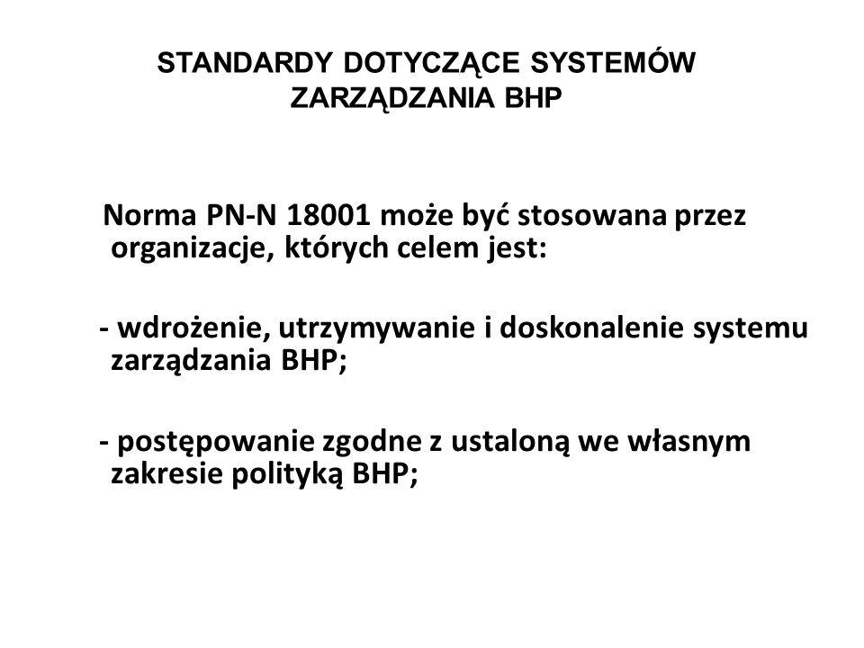STANDARDY DOTYCZĄCE SYSTEMÓW ZARZĄDZANIA BHP W wyniku podjętych prac w RP ustanowiono serię norm dotyczących systemu zarządzania BHP, obejmującą w chw