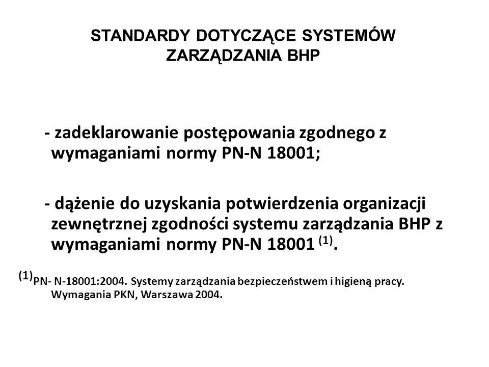 STANDARDY DOTYCZĄCE SYSTEMÓW ZARZĄDZANIA BHP Norma PN-N 18001 może być stosowana przez organizacje, których celem jest: - wdrożenie, utrzymywanie i do