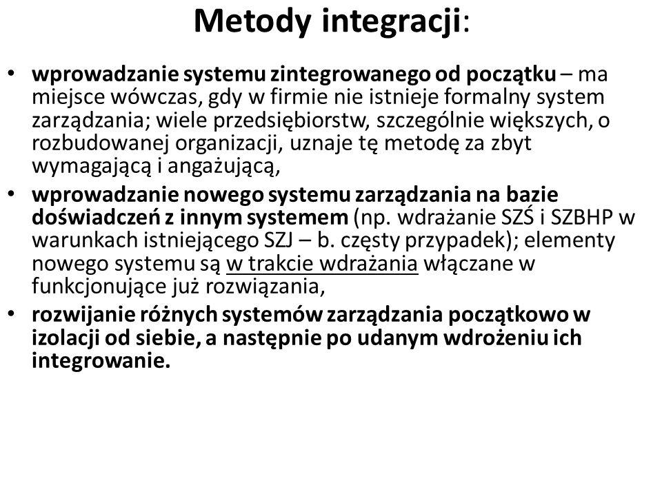 Integracja systemów zarządzania Elementami wspólnymi wymaganymi przez SZŚ wg ISO 14001, SZJ wg ISO 9001 i SZBHP wg PN-N 18001 są: - polityka (jakości,