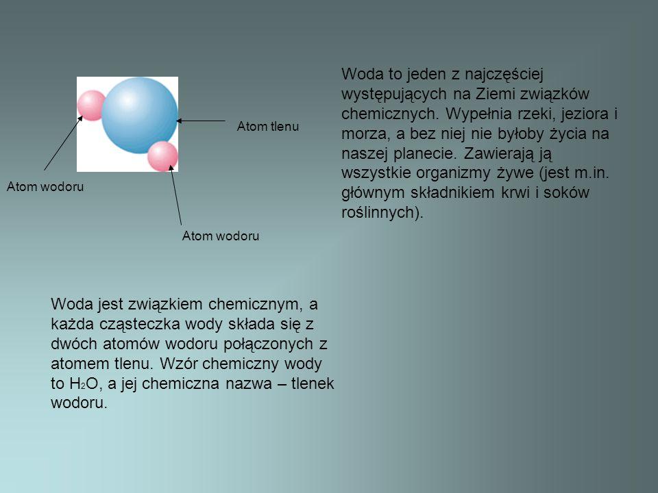 Atom tlenu Atom wodoru Woda jest związkiem chemicznym, a każda cząsteczka wody składa się z dwóch atomów wodoru połączonych z atomem tlenu. Wzór chemi