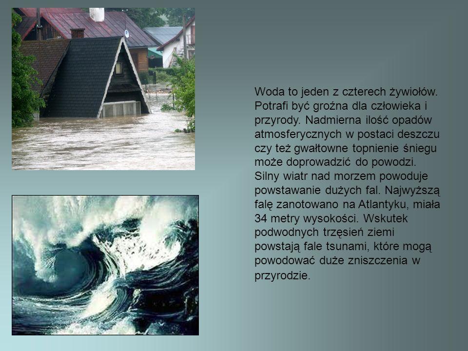 Woda to jeden z czterech żywiołów. Potrafi być groźna dla człowieka i przyrody. Nadmierna ilość opadów atmosferycznych w postaci deszczu czy też gwałt