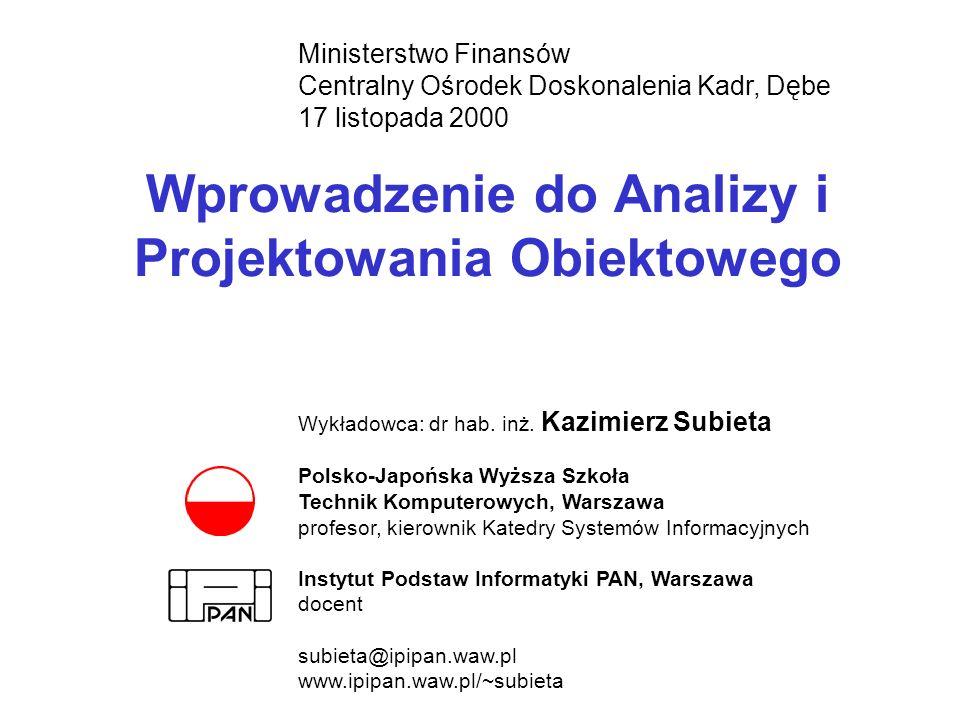 Wprowadzenie do Analizy i Projektowania Obiektowego Ministerstwo Finansów Centralny Ośrodek Doskonalenia Kadr, Dębe 17 listopada 2000 Wykładowca: dr h