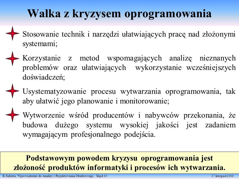 K.Subieta. Wprowadzenie do Analizy i Projektowania Obiektowego, Slajd 10 17 listopad 2000 Walka z kryzysem oprogramowania Stosowanie technik i narzędz