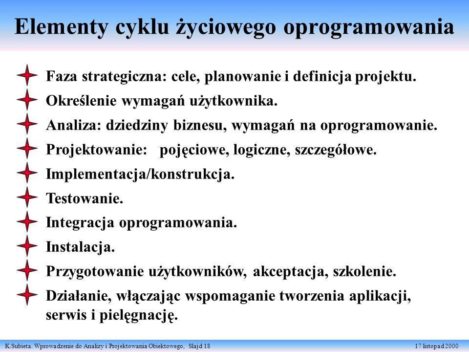 K.Subieta. Wprowadzenie do Analizy i Projektowania Obiektowego, Slajd 18 17 listopad 2000 Elementy cyklu życiowego oprogramowania Faza strategiczna: c