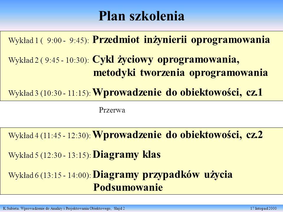 K.Subieta. Wprowadzenie do Analizy i Projektowania Obiektowego, Slajd 2 17 listopad 2000 Plan szkolenia Wykład 1 ( 9:00 - 9:45): Przedmiot inżynierii