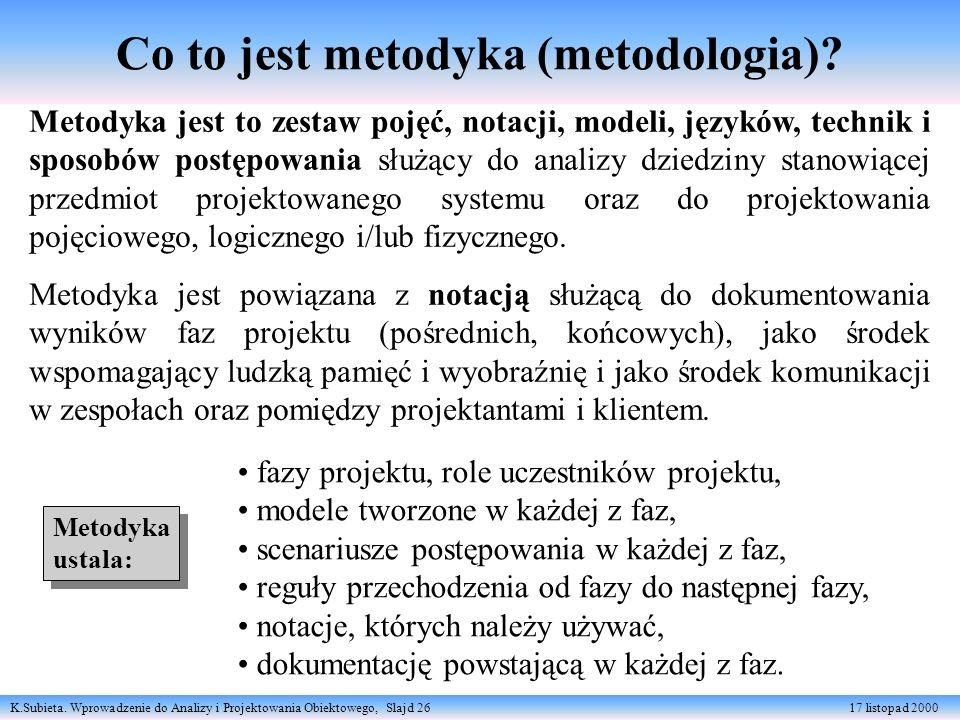 K.Subieta. Wprowadzenie do Analizy i Projektowania Obiektowego, Slajd 26 17 listopad 2000 Co to jest metodyka (metodologia)? Metodyka jest to zestaw p