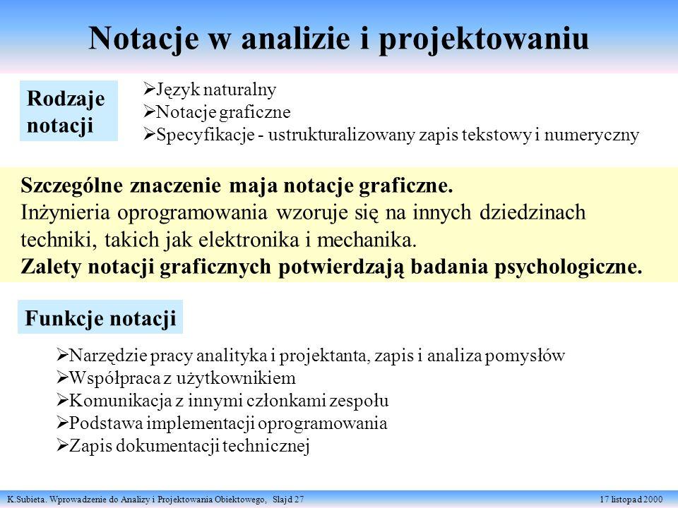 K.Subieta. Wprowadzenie do Analizy i Projektowania Obiektowego, Slajd 27 17 listopad 2000 Notacje w analizie i projektowaniu Rodzaje notacji Język nat