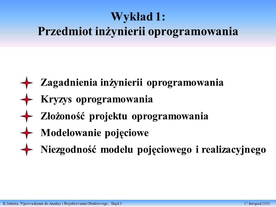 K.Subieta. Wprowadzenie do Analizy i Projektowania Obiektowego, Slajd 3 17 listopad 2000 Wykład 1: Przedmiot inżynierii oprogramowania Zagadnienia inż