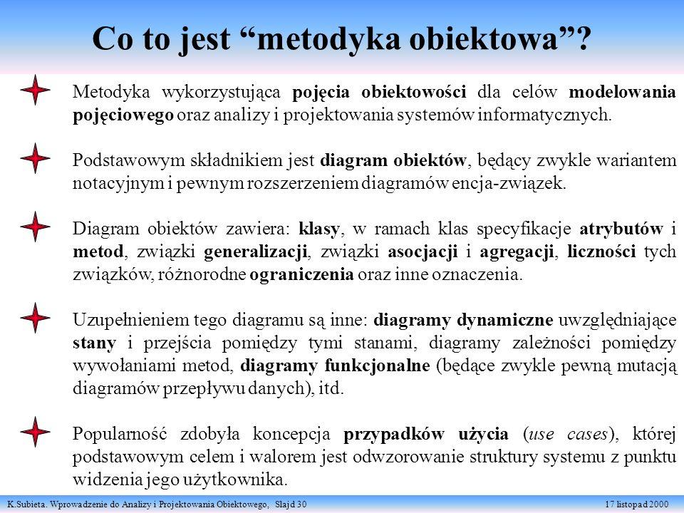 K.Subieta. Wprowadzenie do Analizy i Projektowania Obiektowego, Slajd 30 17 listopad 2000 Co to jest metodyka obiektowa? Metodyka wykorzystująca pojęc