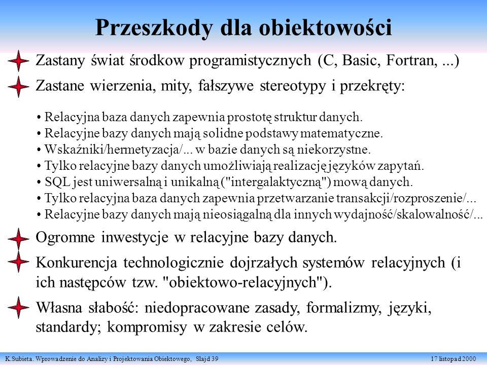 K.Subieta. Wprowadzenie do Analizy i Projektowania Obiektowego, Slajd 39 17 listopad 2000 Przeszkody dla obiektowości Zastany świat środkow programist