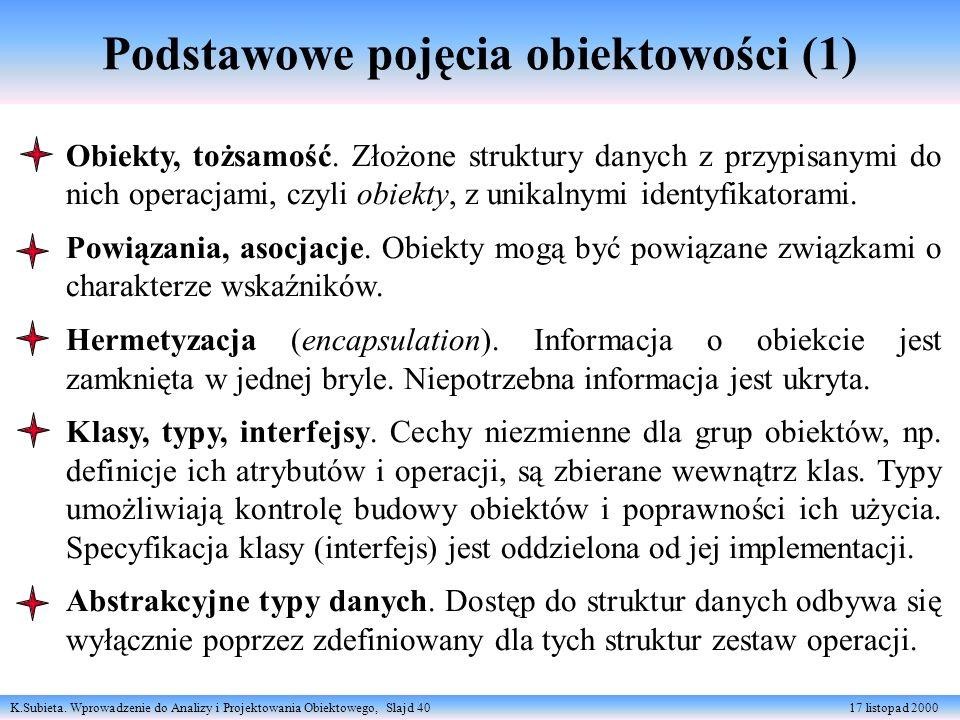 K.Subieta. Wprowadzenie do Analizy i Projektowania Obiektowego, Slajd 40 17 listopad 2000 Podstawowe pojęcia obiektowości (1) Obiekty, tożsamość. Złoż