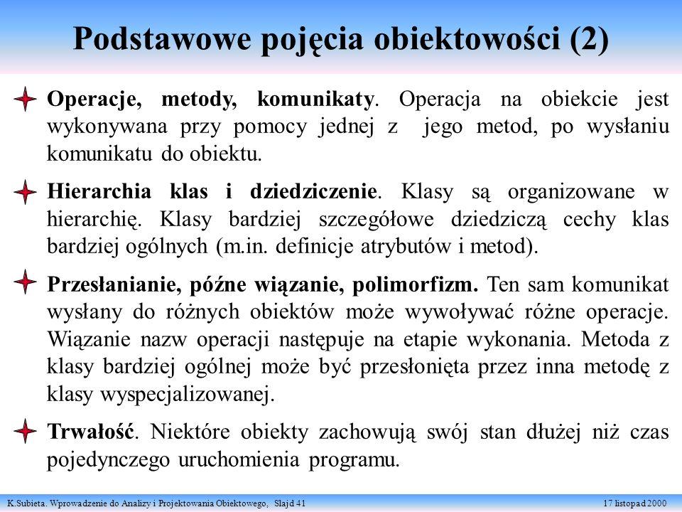 K.Subieta. Wprowadzenie do Analizy i Projektowania Obiektowego, Slajd 41 17 listopad 2000 Podstawowe pojęcia obiektowości (2) Operacje, metody, komuni