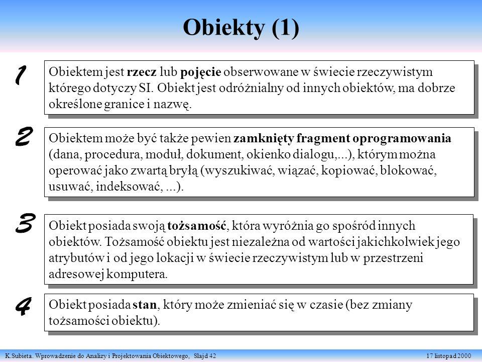 K.Subieta. Wprowadzenie do Analizy i Projektowania Obiektowego, Slajd 42 17 listopad 2000 Obiekty (1) Obiektem może być także pewien zamknięty fragmen