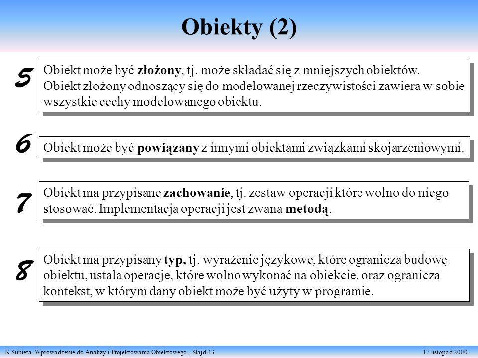 K.Subieta. Wprowadzenie do Analizy i Projektowania Obiektowego, Slajd 43 17 listopad 2000 Obiekty (2) Obiekt może być złożony, tj. może składać się z