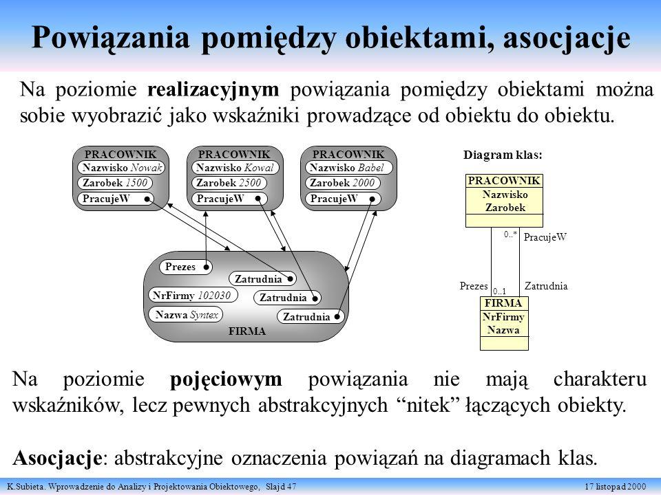 K.Subieta. Wprowadzenie do Analizy i Projektowania Obiektowego, Slajd 47 17 listopad 2000 Powiązania pomiędzy obiektami, asocjacje FIRMA NrFirmy 10203