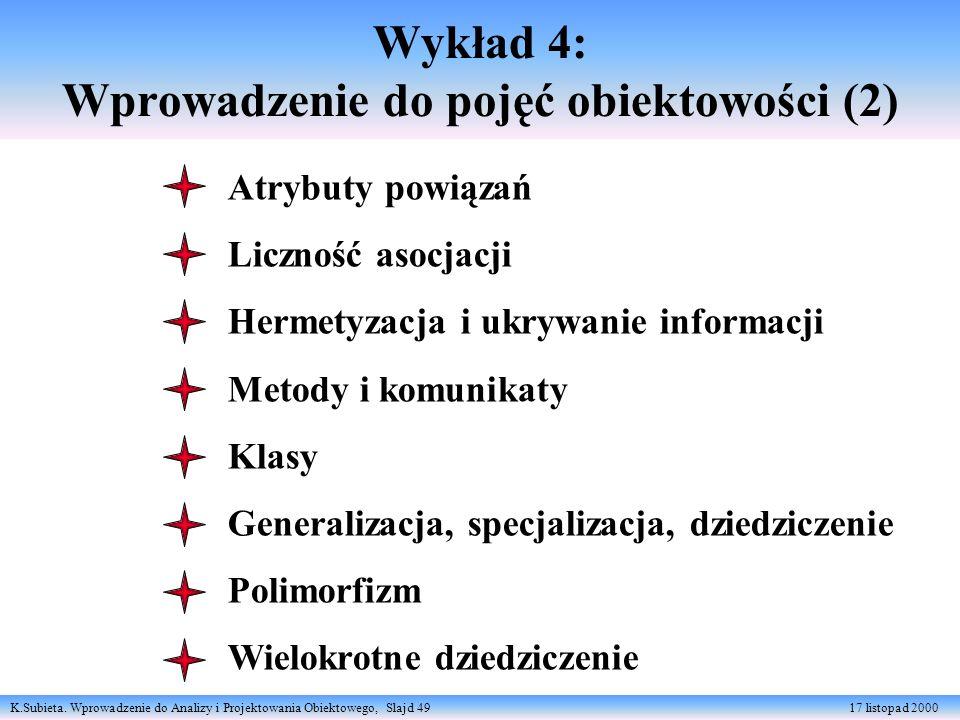 K.Subieta. Wprowadzenie do Analizy i Projektowania Obiektowego, Slajd 49 17 listopad 2000 Wykład 4: Wprowadzenie do pojęć obiektowości (2) Atrybuty po