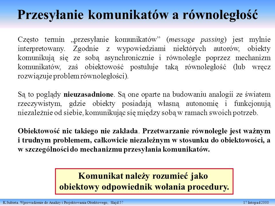 K.Subieta. Wprowadzenie do Analizy i Projektowania Obiektowego, Slajd 57 17 listopad 2000 Przesyłanie komunikatów a równoległość Często termin przesył