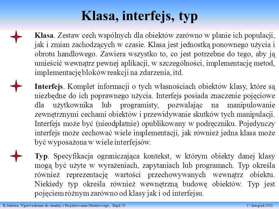 K.Subieta. Wprowadzenie do Analizy i Projektowania Obiektowego, Slajd 59 17 listopad 2000 Klasa, interfejs, typ Klasa. Zestaw cech wspólnych dla obiek