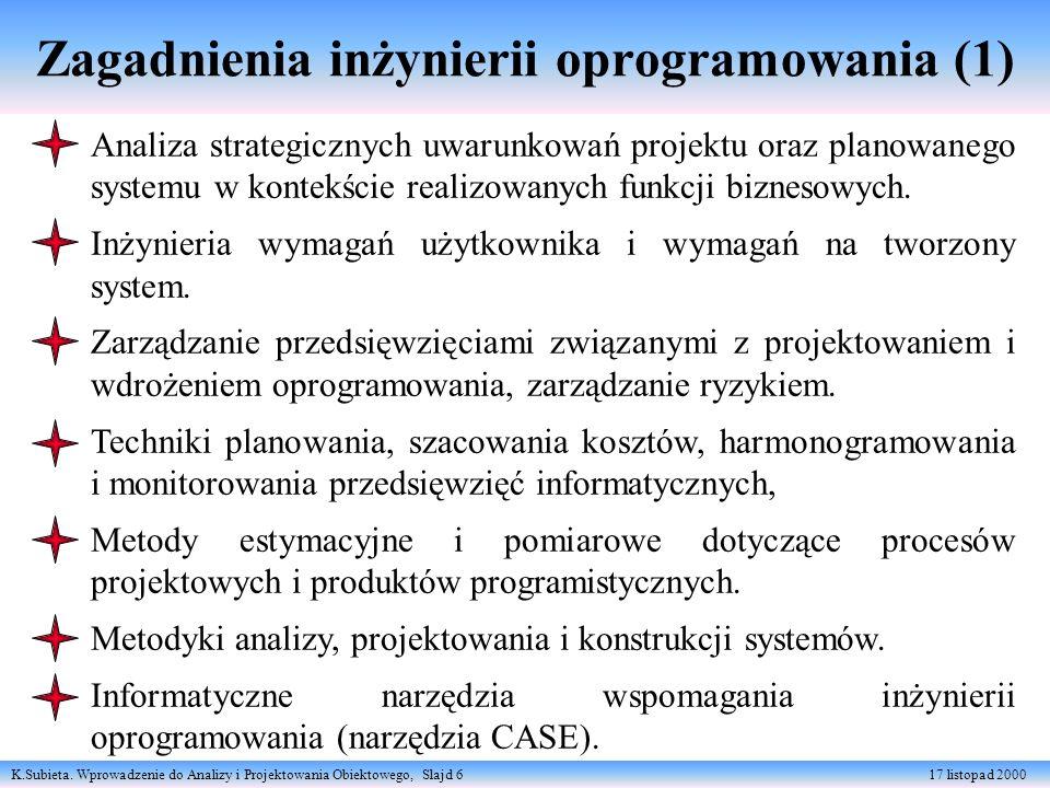 K.Subieta. Wprowadzenie do Analizy i Projektowania Obiektowego, Slajd 6 17 listopad 2000 Zagadnienia inżynierii oprogramowania (1) Analiza strategiczn