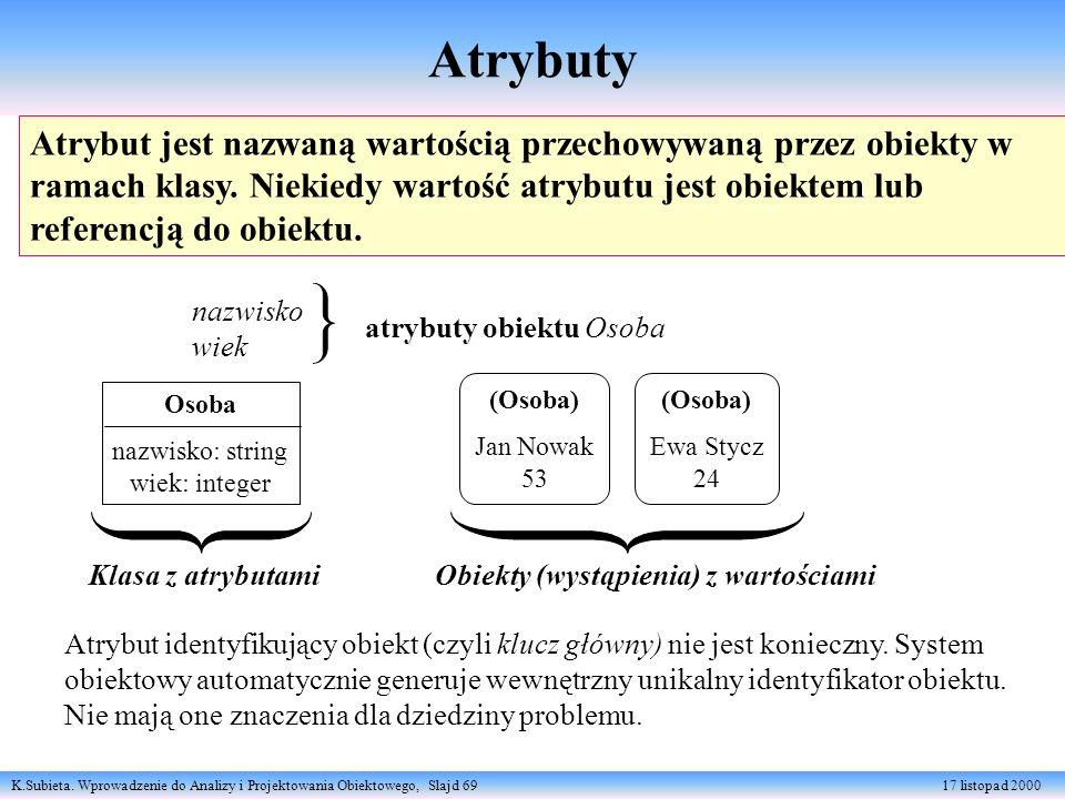 K.Subieta. Wprowadzenie do Analizy i Projektowania Obiektowego, Slajd 69 17 listopad 2000 Atrybuty Atrybut jest nazwaną wartością przechowywaną przez