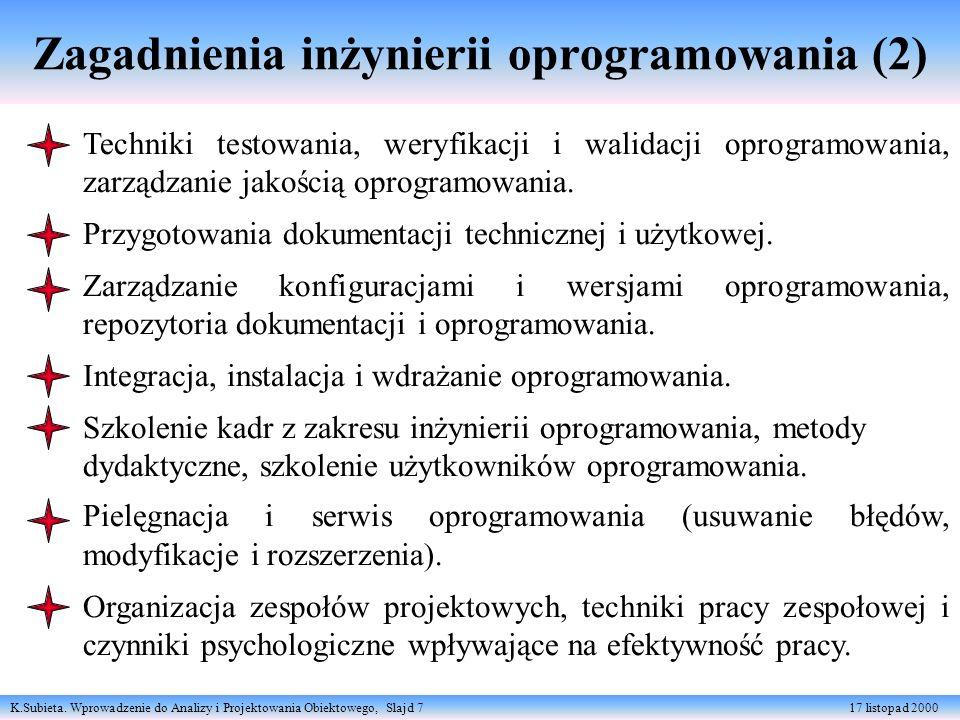 K.Subieta. Wprowadzenie do Analizy i Projektowania Obiektowego, Slajd 7 17 listopad 2000 Zagadnienia inżynierii oprogramowania (2) Techniki testowania