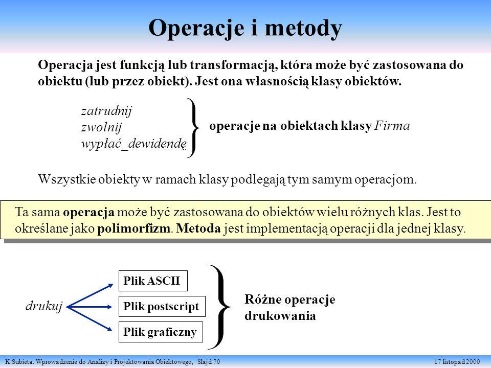 K.Subieta. Wprowadzenie do Analizy i Projektowania Obiektowego, Slajd 70 17 listopad 2000 Operacja jest funkcją lub transformacją, która może być zast