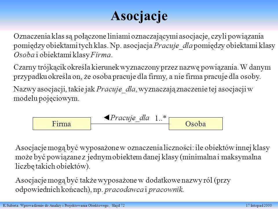 K.Subieta. Wprowadzenie do Analizy i Projektowania Obiektowego, Slajd 72 17 listopad 2000 Asocjacje Firma Osoba Pracuje_dla 1..* Oznaczenia klas są po