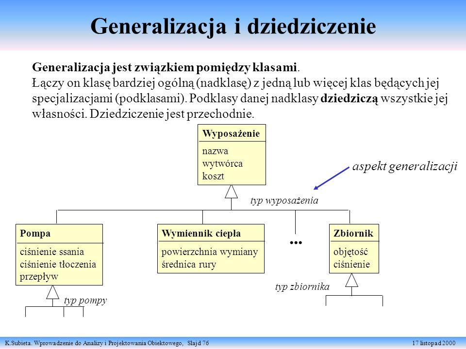 K.Subieta. Wprowadzenie do Analizy i Projektowania Obiektowego, Slajd 76 17 listopad 2000 Generalizacja jest związkiem pomiędzy klasami. Łączy on klas