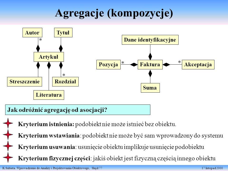 K.Subieta. Wprowadzenie do Analizy i Projektowania Obiektowego, Slajd 77 17 listopad 2000 Jak odróżnić agregację od asocjacji? Artykuł TytułAutor Stre