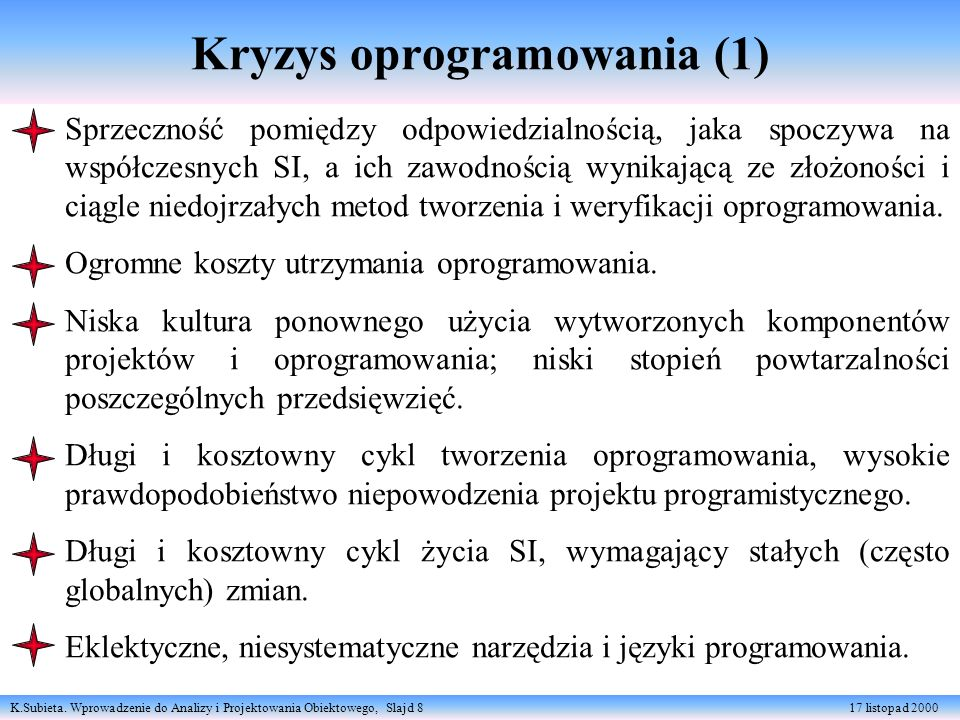 K.Subieta. Wprowadzenie do Analizy i Projektowania Obiektowego, Slajd 8 17 listopad 2000 Kryzys oprogramowania (1) Sprzeczność pomiędzy odpowiedzialno