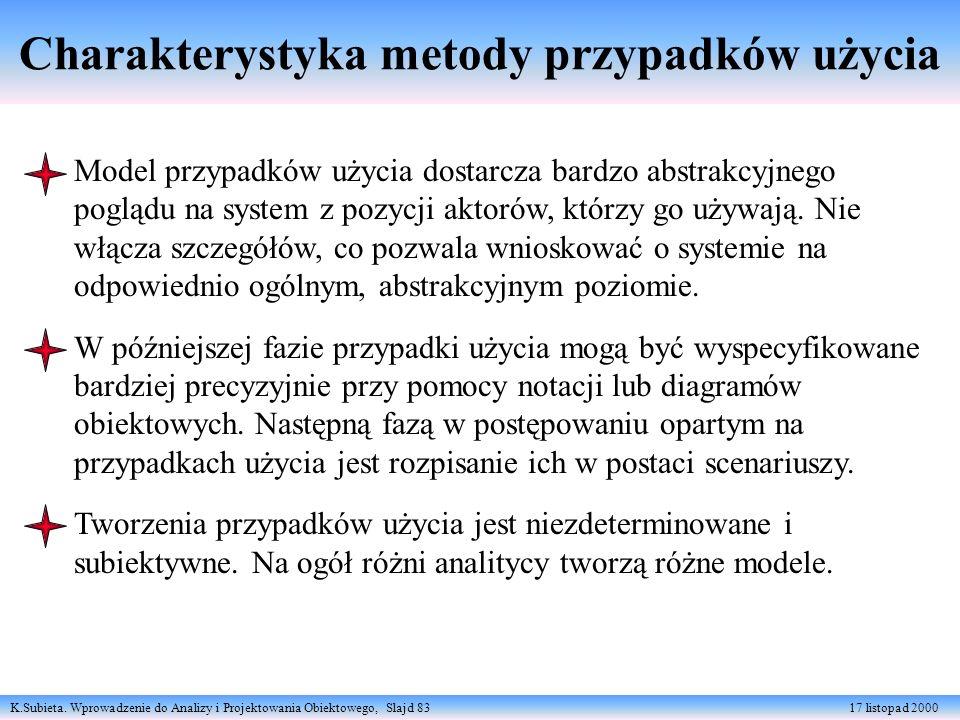 K.Subieta. Wprowadzenie do Analizy i Projektowania Obiektowego, Slajd 83 17 listopad 2000 Charakterystyka metody przypadków użycia Model przypadków uż