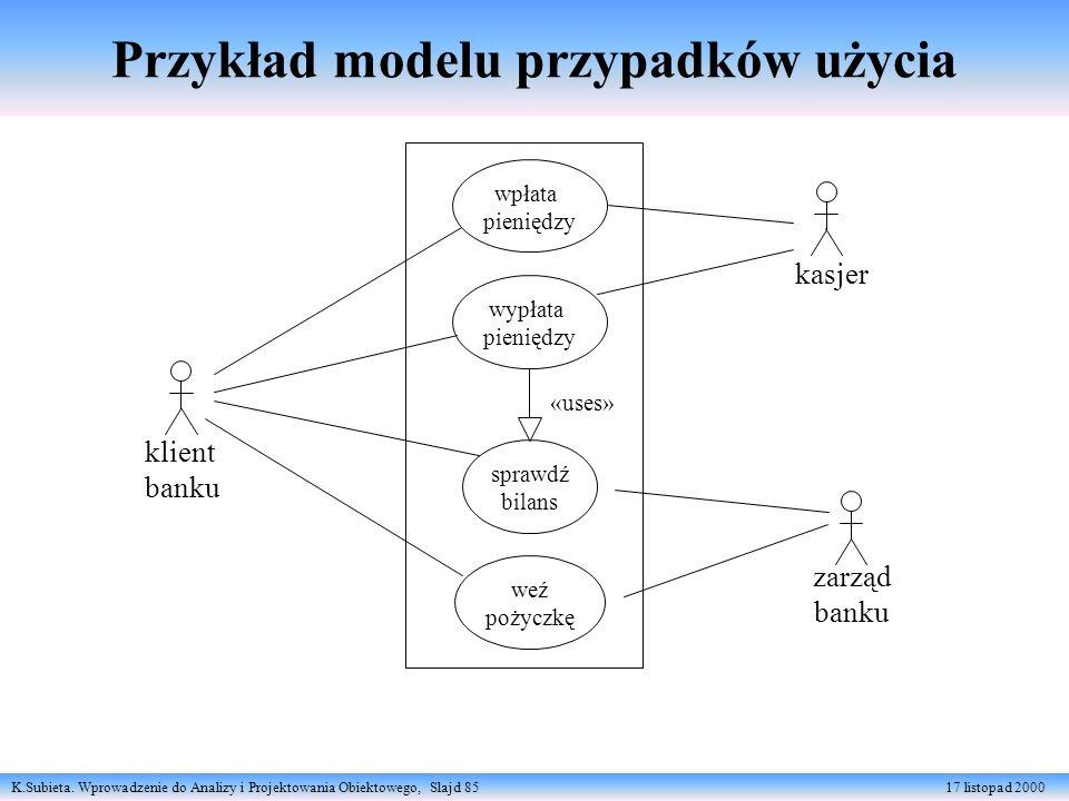 K.Subieta. Wprowadzenie do Analizy i Projektowania Obiektowego, Slajd 85 17 listopad 2000 klient banku wpłata pieniędzy wypłata pieniędzy kasjer spraw