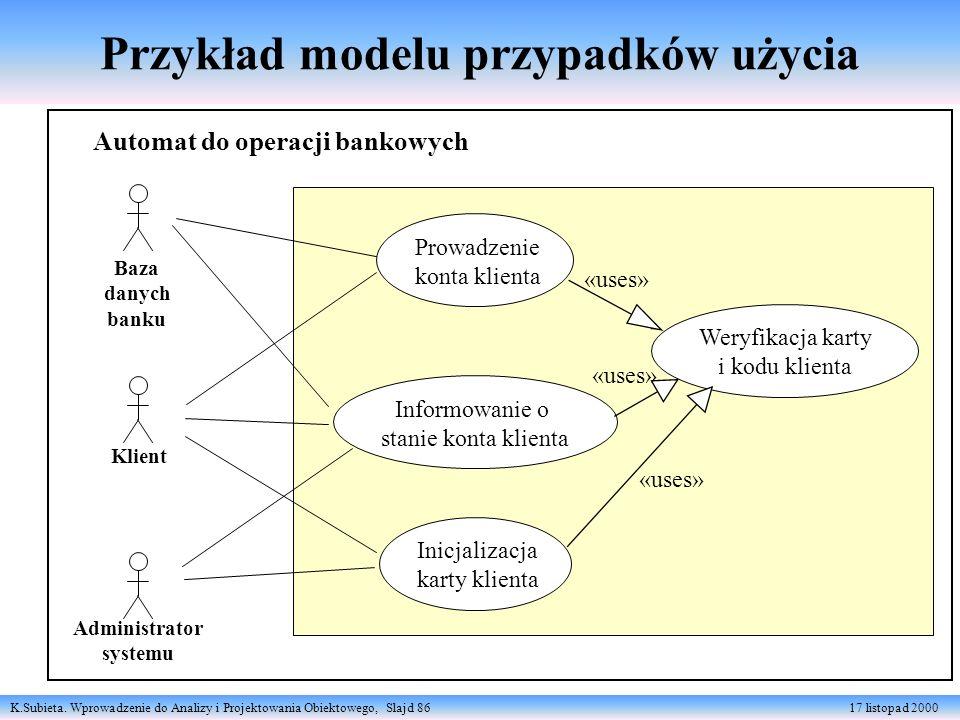 K.Subieta. Wprowadzenie do Analizy i Projektowania Obiektowego, Slajd 86 17 listopad 2000 Przykład modelu przypadków użycia Baza danych banku Klient A