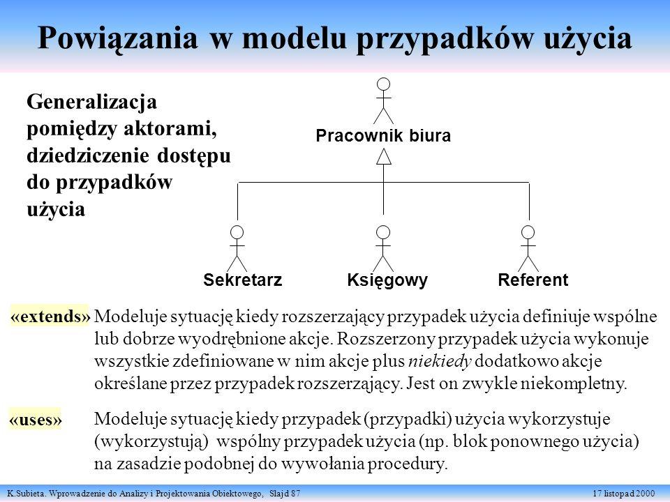 K.Subieta. Wprowadzenie do Analizy i Projektowania Obiektowego, Slajd 87 17 listopad 2000 Powiązania w modelu przypadków użycia Generalizacja pomiędzy