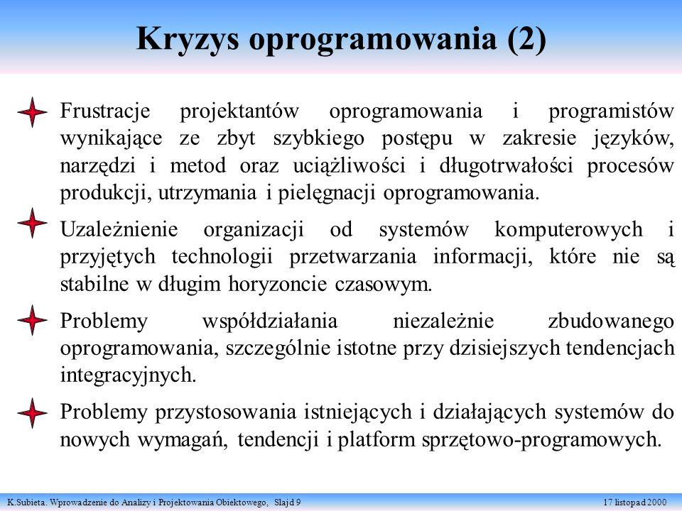 K.Subieta. Wprowadzenie do Analizy i Projektowania Obiektowego, Slajd 9 17 listopad 2000 Kryzys oprogramowania (2) Frustracje projektantów oprogramowa