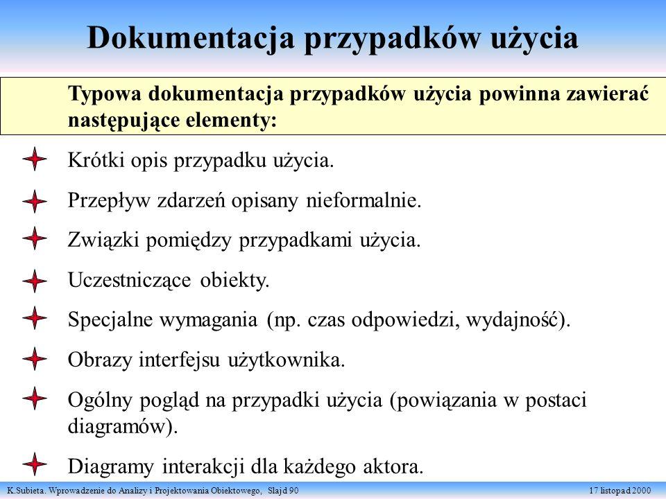 K.Subieta. Wprowadzenie do Analizy i Projektowania Obiektowego, Slajd 90 17 listopad 2000 Dokumentacja przypadków użycia Typowa dokumentacja przypadkó
