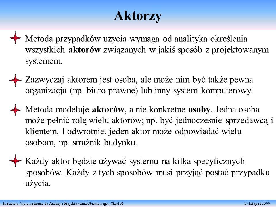 K.Subieta. Wprowadzenie do Analizy i Projektowania Obiektowego, Slajd 91 17 listopad 2000 Aktorzy Metoda przypadków użycia wymaga od analityka określe