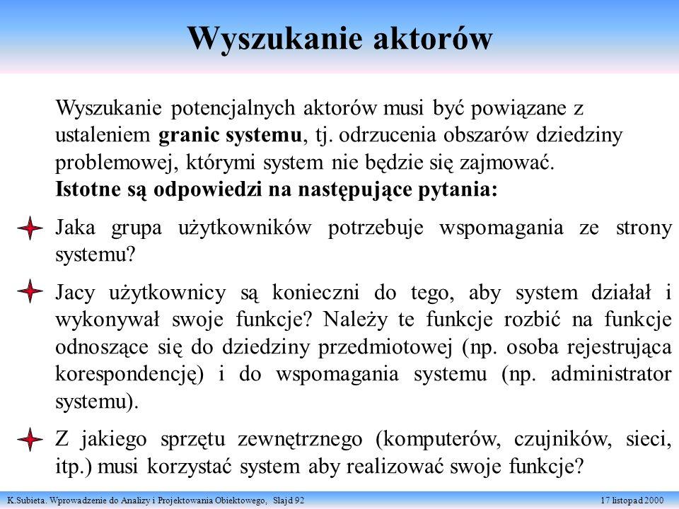 K.Subieta. Wprowadzenie do Analizy i Projektowania Obiektowego, Slajd 92 17 listopad 2000 Wyszukanie aktorów Wyszukanie potencjalnych aktorów musi być