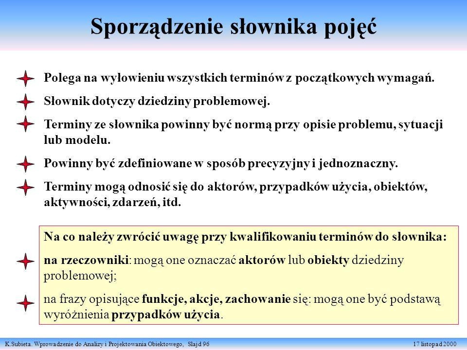 K.Subieta. Wprowadzenie do Analizy i Projektowania Obiektowego, Slajd 96 17 listopad 2000 Sporządzenie słownika pojęć Polega na wyłowieniu wszystkich