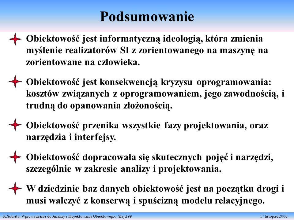 K.Subieta. Wprowadzenie do Analizy i Projektowania Obiektowego, Slajd 99 17 listopad 2000 Podsumowanie Obiektowość jest informatyczną ideologią, która