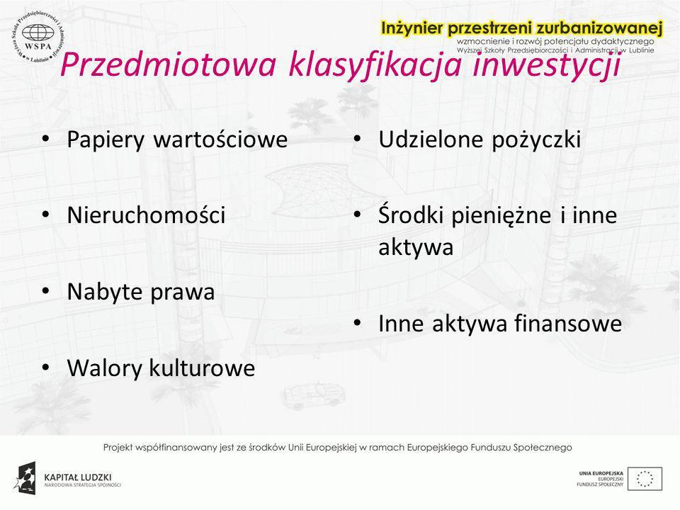 Przedmiotowa klasyfikacja inwestycji Papiery wartościowe Nieruchomości Nabyte prawa Walory kulturowe Udzielone pożyczki Środki pieniężne i inne aktywa