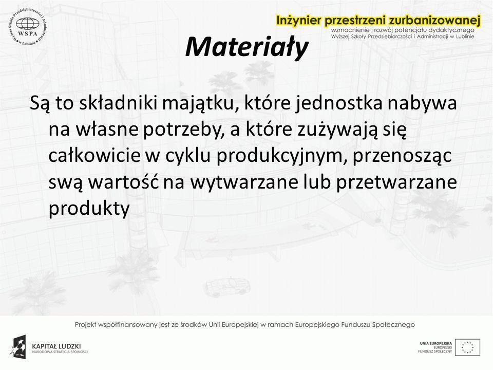 Materiały Są to składniki majątku, które jednostka nabywa na własne potrzeby, a które zużywają się całkowicie w cyklu produkcyjnym, przenosząc swą war