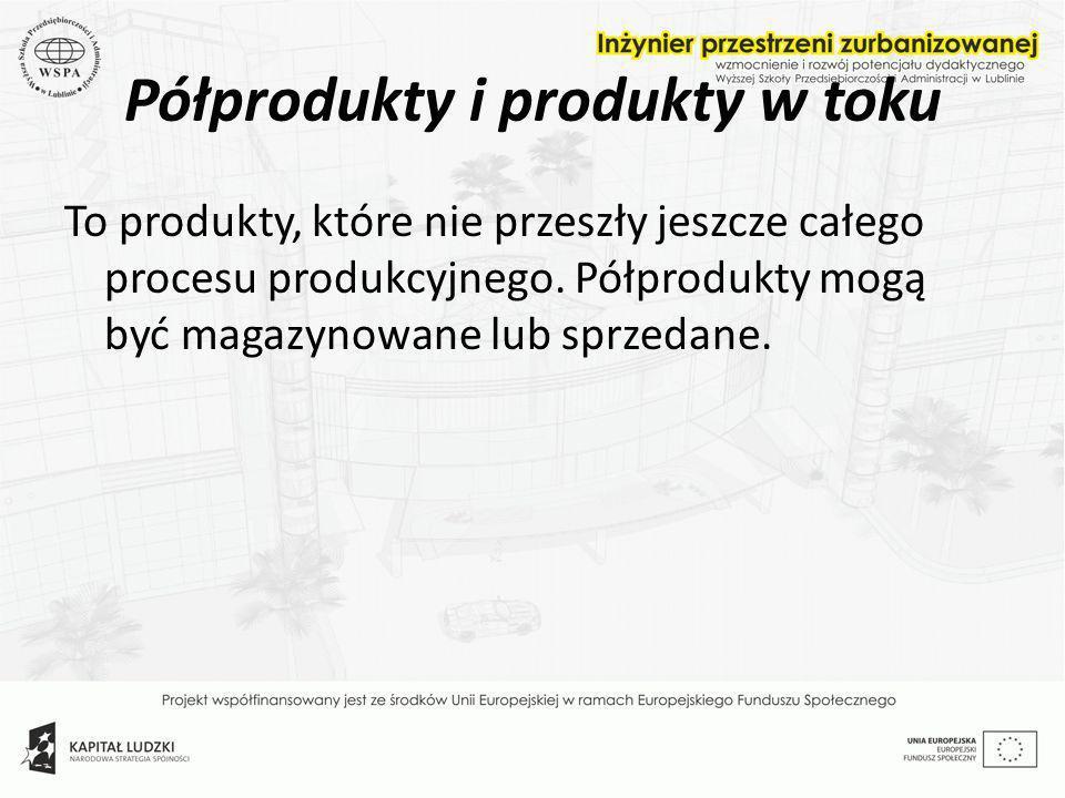 Półprodukty i produkty w toku To produkty, które nie przeszły jeszcze całego procesu produkcyjnego. Półprodukty mogą być magazynowane lub sprzedane.