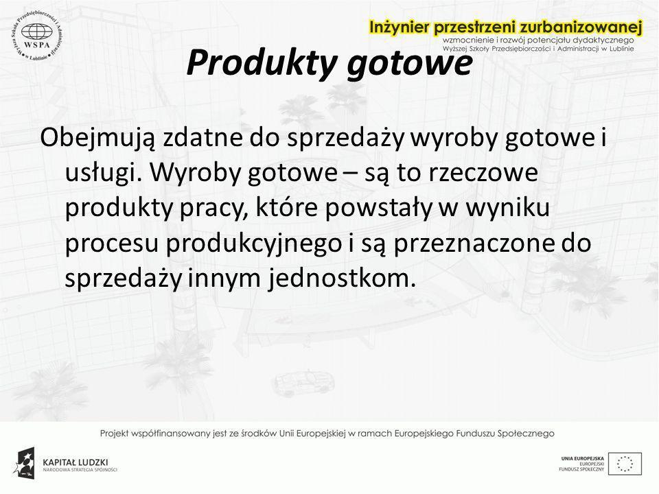 Produkty gotowe Obejmują zdatne do sprzedaży wyroby gotowe i usługi. Wyroby gotowe – są to rzeczowe produkty pracy, które powstały w wyniku procesu pr